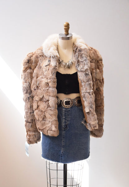 Vintage Fur Coat Patchwork Fur Fuzzy Brown 1970s Bomber Winter Coat Size S/M