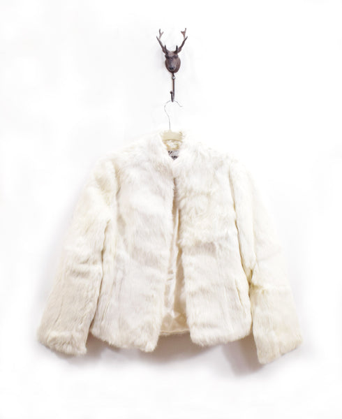 Vintage Fur Coat Ivory 1970s 80s Jacket Size Small