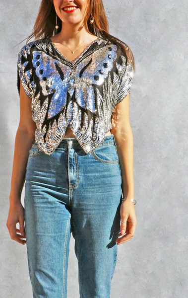 Vintage Silk Sequins Butterfly Blouse Vintage India Gauze 70s-80s Summer Festival Crop Top