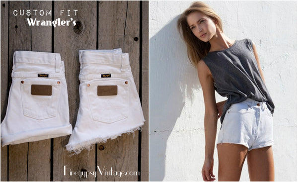 Vintage WRANGLER Shorts Denim Cutoff Shorts Tattered Blue Distressed Highwaist Jean Shorts Cut high or Low Cut