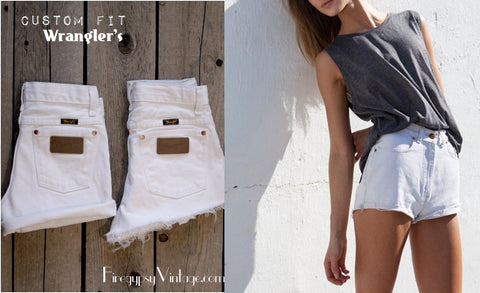 Vintage WRANGLER Shorts High-waist WHITE Denim Cutoffs