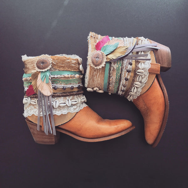 Decorated Cowboy Boots Vintage Boots Boho Festival Boots Custom Made To Order ALL SIZES