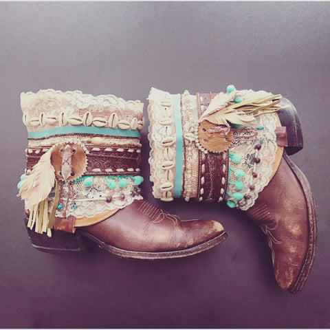 Decorated Cowboy Boots SHABBY CHIC Vintage Boots Boho Festival Boots Avant Gardy Gypsy Custom Made To Order