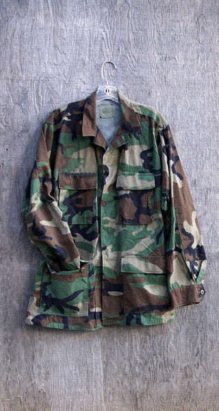 Vintage Military Jacket Camo Army Button Down Camo Shirt Jacket IN YOUR SIZE