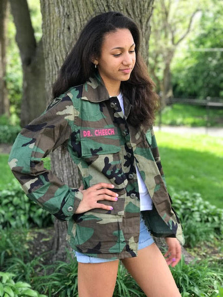 Camo Jacket Vintage Military Army Issued Slouchy Grunge Button Down All Sizes