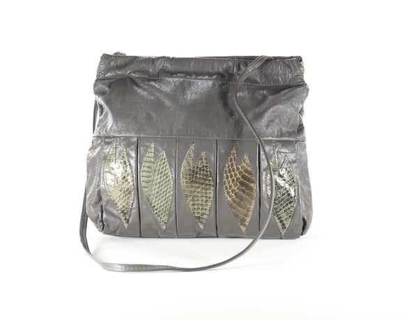 Vintage Gray Leather Bag Convertible Crossbody Clutch Purse  Snakeskin Satchel