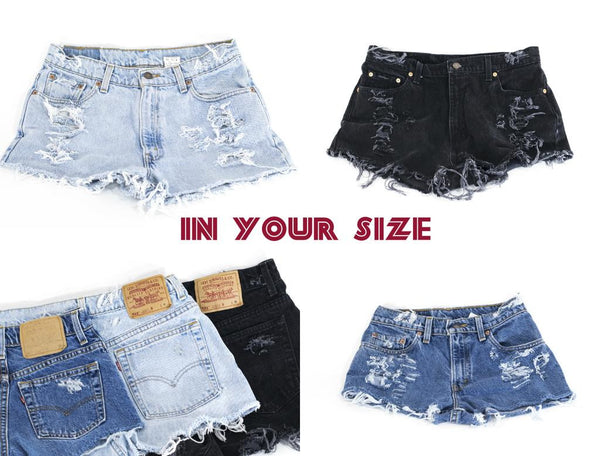 Vintage LEVI Denim Cutoff Shorts Tattered Blue Custom-fit Jean Shorts