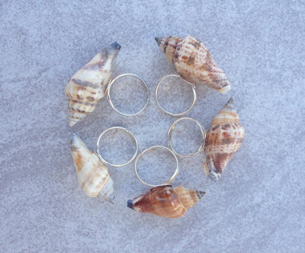 Seashell Ring Ocean Beach Shell Mermaid Statement Adjustable Ring