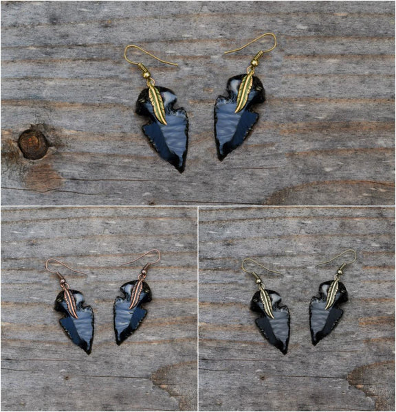 arrowhead earrings  native tribal spearhead arrow gold flint stone studs