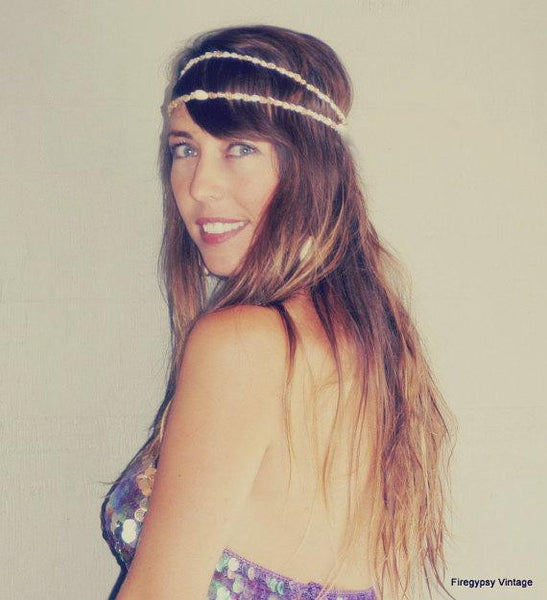 Mermaid Crown Seashell Head Piece Flapper Wedding Hawaiian Ocean Head Piece