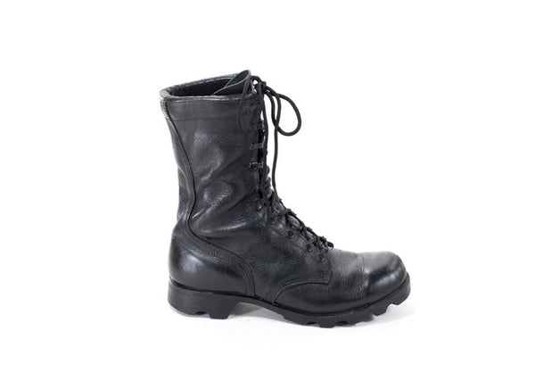 Vintage Military Boots Sz. 8.5 Black Leather Army Combat Boots Womens Size 8 1/2