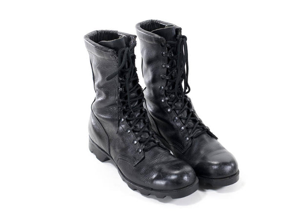 Vintage Military Boots Black Leather Army Combat Boots Womens Size 8