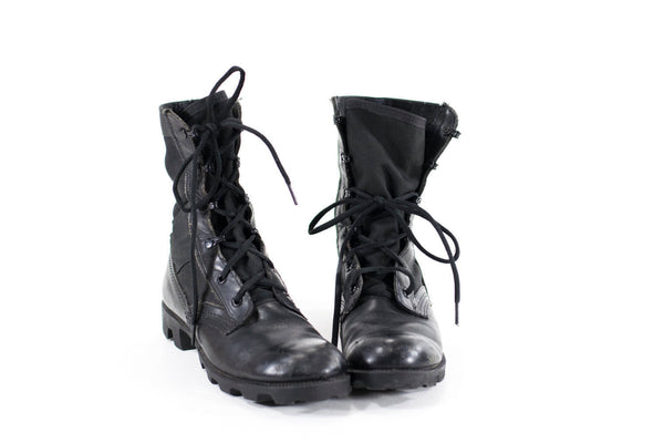 Vintage Military Boots Size 7 Black Leather 90s Combat Boots Womens Size 7