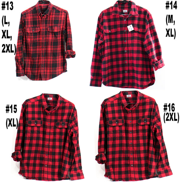 Vintage Red Flannel Buffalo Plaid Cotton Button Down Unisex Shirt Sizes XXS-3XL