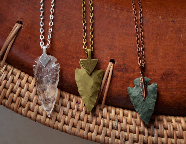 Arrowhead Necklace Flint Stone Tribal Necklace made to order Customizable Gift