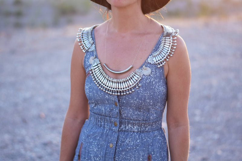 Bohemian Statement Necklace  Shoulder Harness Necklace  Turkish Silver Bib Festival Necklace