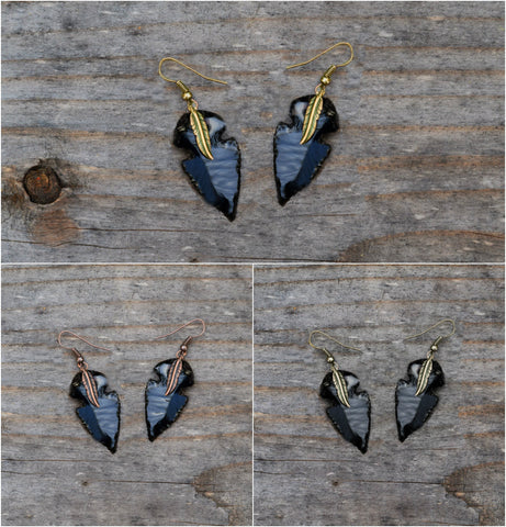 Arrowhead Flint Stone Earrings Tribal Boho Southwestern Native  Custom made Dangle Drop Earrings  Made to Order In Your Color Choice