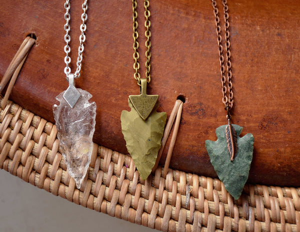 Arrowhead Necklace  Flint Stone Tribal Necklace Customizable