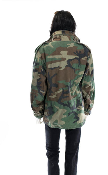 Vintage Camo Jacket WINTER Coat Army Jacket Unisex Military Issue Hooded THICK Double Lined Winter Coat All Sizes
