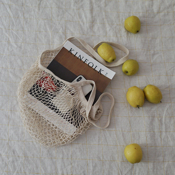 Shopping Bag Cotton Crochet Mesh Tote Reusable Grocery Eco Beach Bag Mauve Light Blue or Ivory