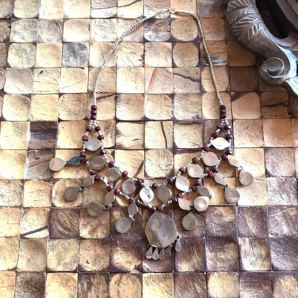 Boho Necklace Turkish Medallion Burgundy Silver Statement Vintage Necklace