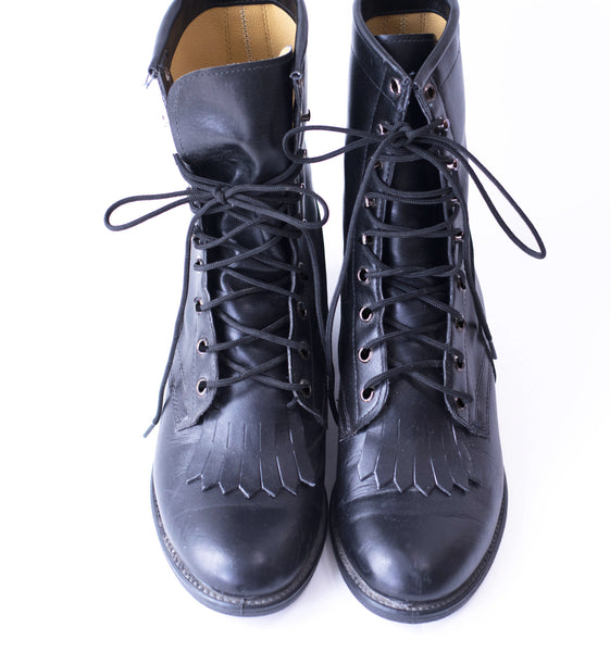 cc1a394290 Vintage Boots Black Leather Kiltie Roper Military Packer Lace Up Ankle –  Firegypsy Vintage