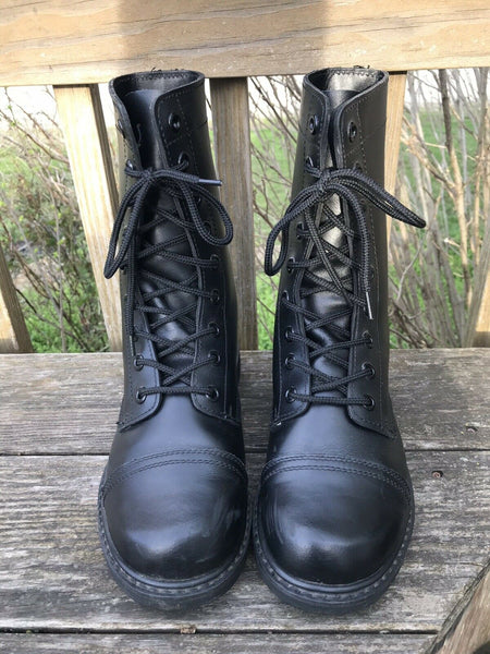 Vintage Military Boots Size 9.5 Black Leather Army Combat Boots Womens Size 9 1/2