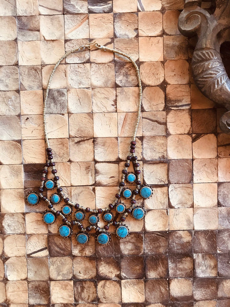 Vintage Necklace Turkish Turquoise Medallion Golden Brass BOHO Statement Vintage Necklace