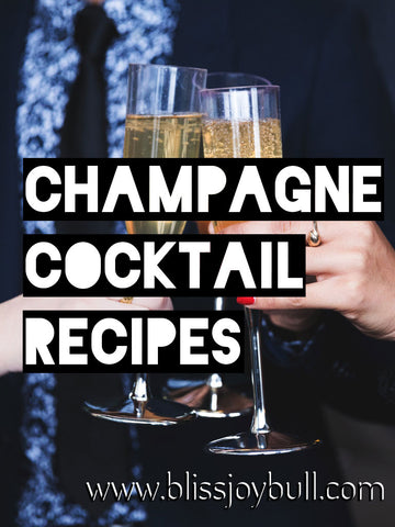 3 sets of hands clicking champagne flute glasses. Text reads: champagne cocktail recipes