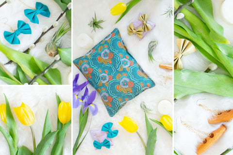 Collage of cherry pit warmers, yellow tulips, air plants, and leather and brass earrings