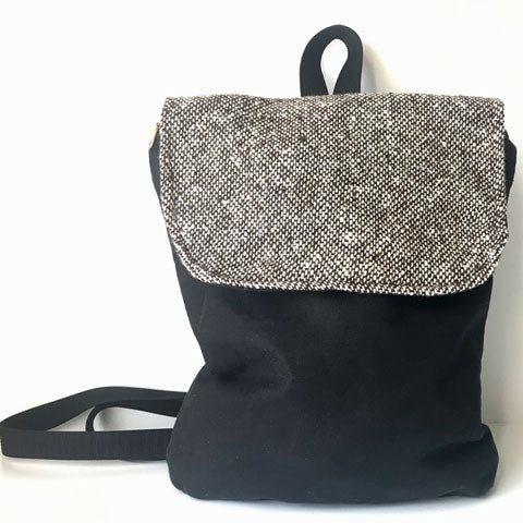 waxed canvas mini backpack purse in black with tweed flap
