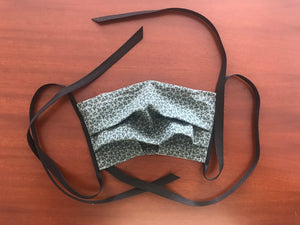 cotton fabric face mask with ties
