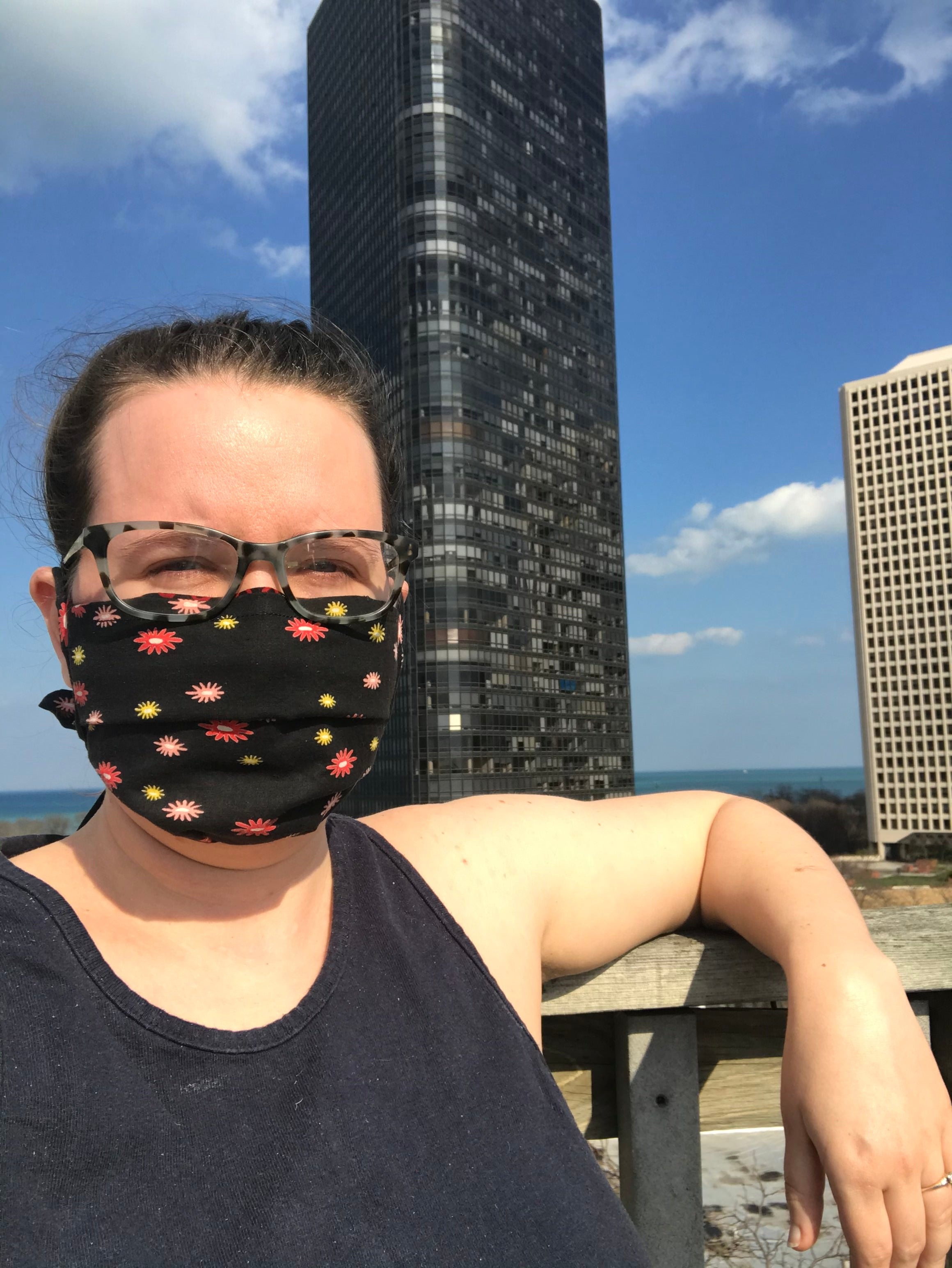 woman wear cotton fabric face mask