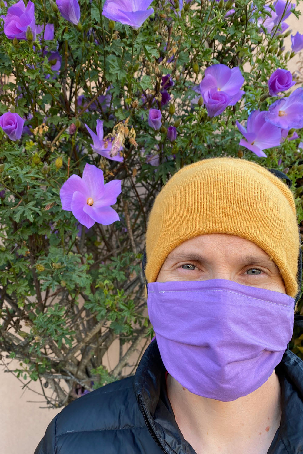 man wears a knitted yellow cap, purple face covering, and black puffy coat. He stands in front of a green bush with purple flowers.