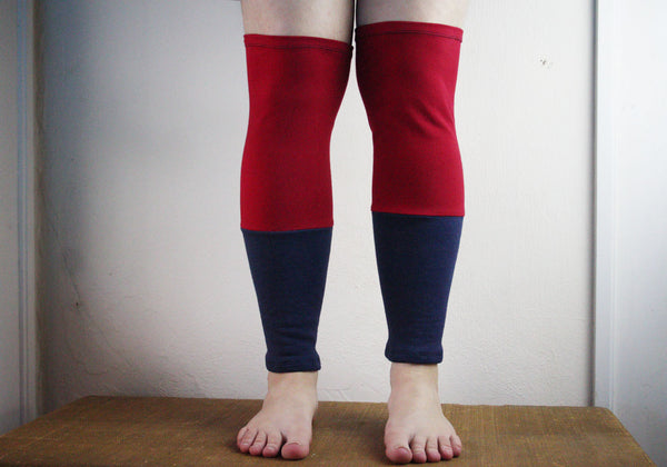 Organic Leg Warmers Fleece - Red + Navy Blue -  - Leggings + leg warmers - Bliss Joy Bull - 2