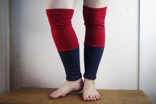 Organic Leg Warmers Fleece - Red + Navy Blue -  - Leggings + leg warmers - Bliss Joy Bull - 1