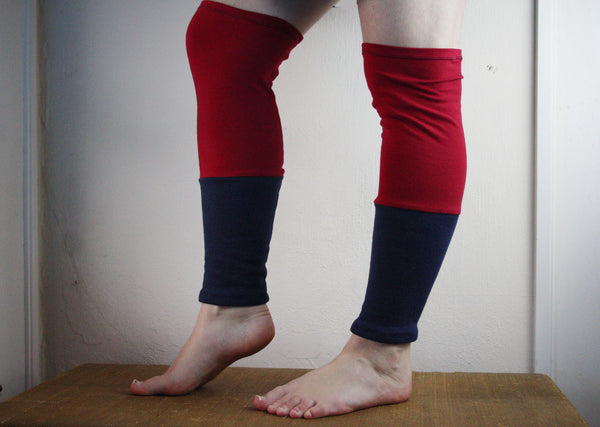 Organic Leg Warmers Fleece - Red + Navy Blue -  - Leggings + leg warmers - Bliss Joy Bull - 3