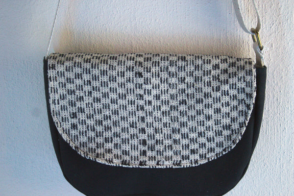 Mini Messenger Black + White Tweed Cross Body Bag -  - Bag - Bliss Joy Bull - 5