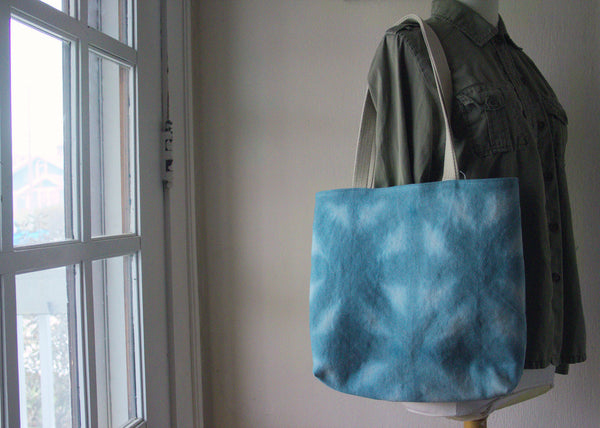 Hemp Canvas Tote Bag - Hand Dyed Blue 1002 -  - Bag - Bliss Joy Bull - 4