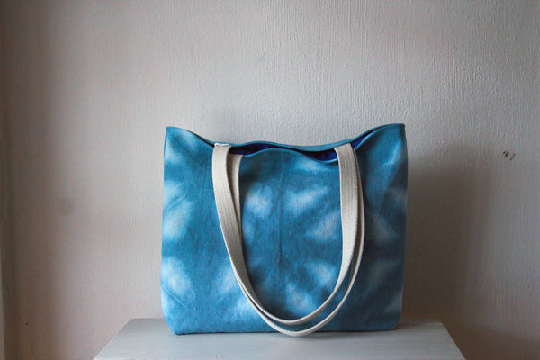 Hemp Canvas Tote Bag - Hand Dyed Blue 1002 -  - Bag - Bliss Joy Bull - 1