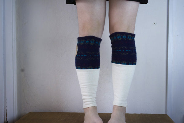 Organic Leg Warmers - White + Navy Blue Pattern -  - Leggings + leg warmers - Bliss Joy Bull - 2