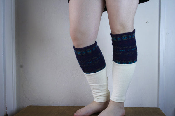 Organic Leg Warmers - White + Navy Blue Pattern -  - Leggings + leg warmers - Bliss Joy Bull - 5
