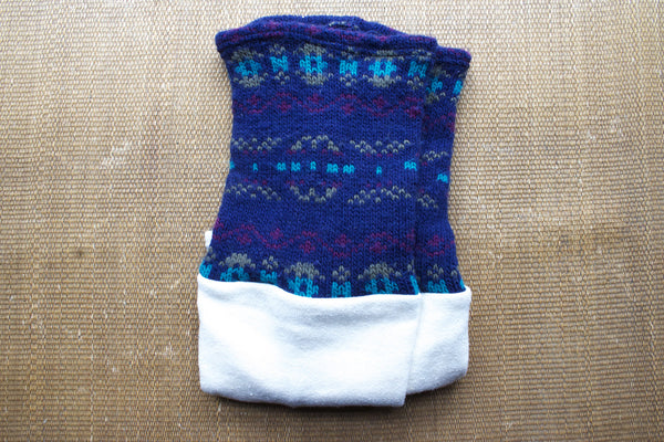 Organic Leg Warmers - White + Navy Blue Pattern -  - Leggings + leg warmers - Bliss Joy Bull - 4