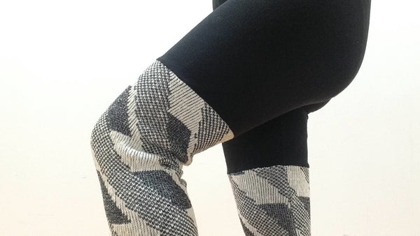 Sweater Leggings - Faux Thigh High - Grey and White Geometric -  - Leggings + leg warmers - Bliss Joy Bull - 3