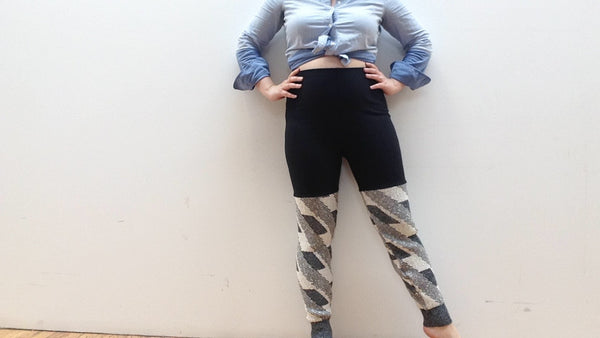 Sweater Leggings - Faux Thigh High - Grey and White Geometric -  - Leggings + leg warmers - Bliss Joy Bull - 5