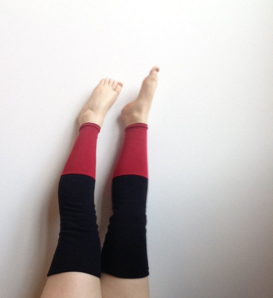Thigh High Leg Warmers - Black + Red -  - Leggings + leg warmers - Bliss Joy Bull - 2