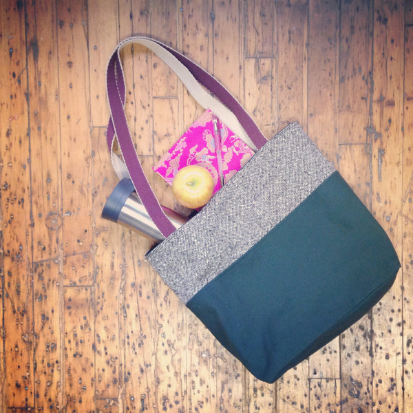 Waxed Canvas & Tweed Tote Bag: Green - Green + Tweed - Bag - Bliss Joy Bull - 1