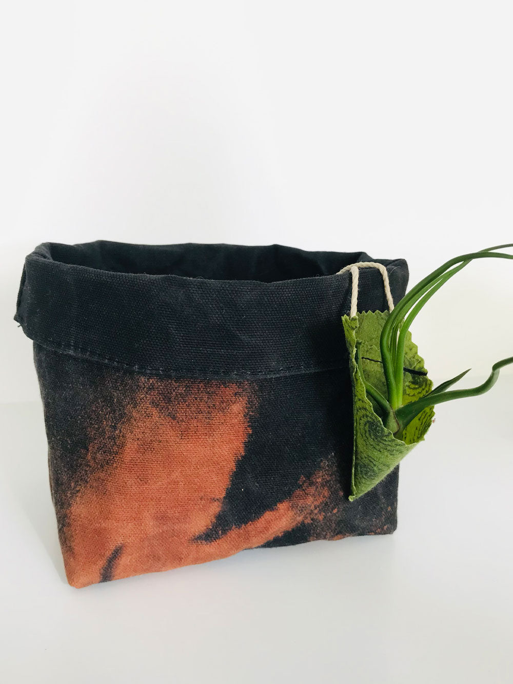 A black fabric basket is discharged dyed, which creates an abstract pattern in a rust color. An aloe vera plant sits inside the fabric basket. A small air plant hangs in a cone shaped air plant holder off the side of the basket.