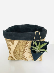 A fabric basket in light yellow and dark olive fleur de lis pattern with a black lining. A small air plant sits in a cone shaped air plant holder that hangs off the side of the basket from thin hemp cord.