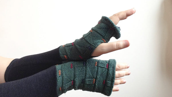 Organic Arm Warmer Texting Gloves in Black Wool + Green - Short -  - Arm Warmers - Bliss Joy Bull - 2